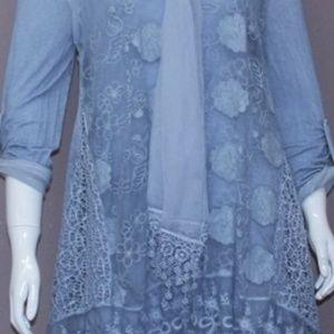 Fantazia Two Piece Boho Blue Lace Tunic with Scarf